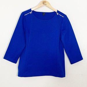 Ann Taylor Royal Blue Shoulder Zip3/4 Sleeve Large